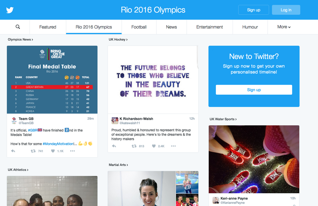 Trending topics can be found in Twitter Moments