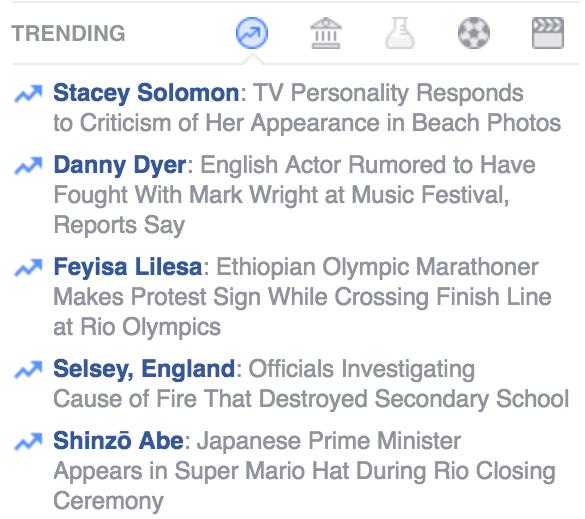 facebook trending topics panel