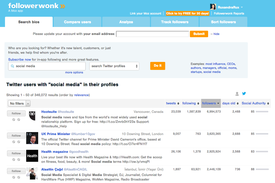 followerwonk is a free social media tracking tool from Moz