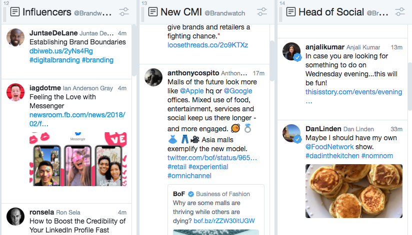 Tweetdeck with columns for tracking influencers
