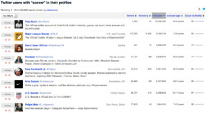 "List of Twitter users with ""soccer"" in their bios generated by the Followerwonk Twitter analytics tool"