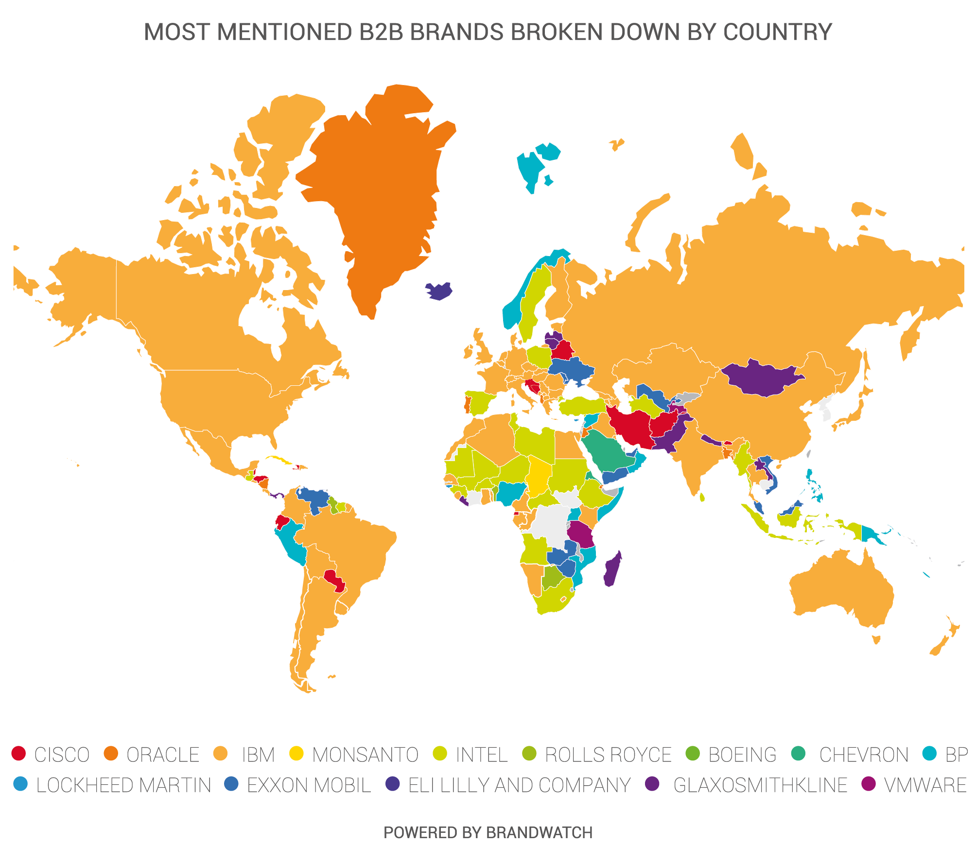 Most Mentioned B2B Brands on Social Media by Country