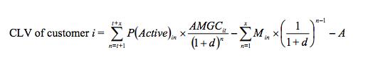 A Complicated customer lifetime value formula