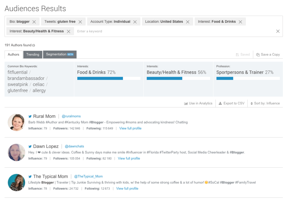 Finding Twitter Influencers using Brandwatch Audiences