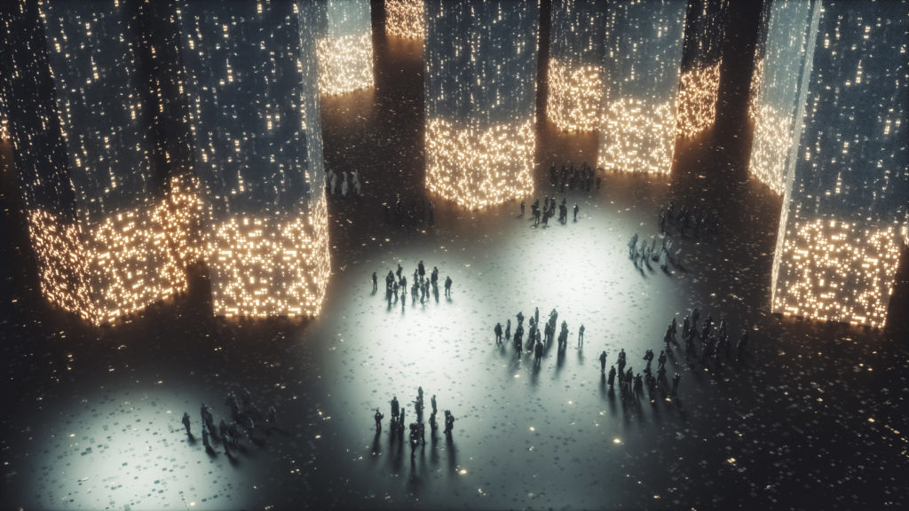 Groups on people in futuristic city
