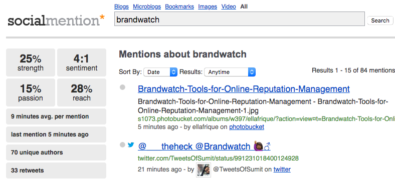 A search result page for the social media monitoring tool Social Mention
