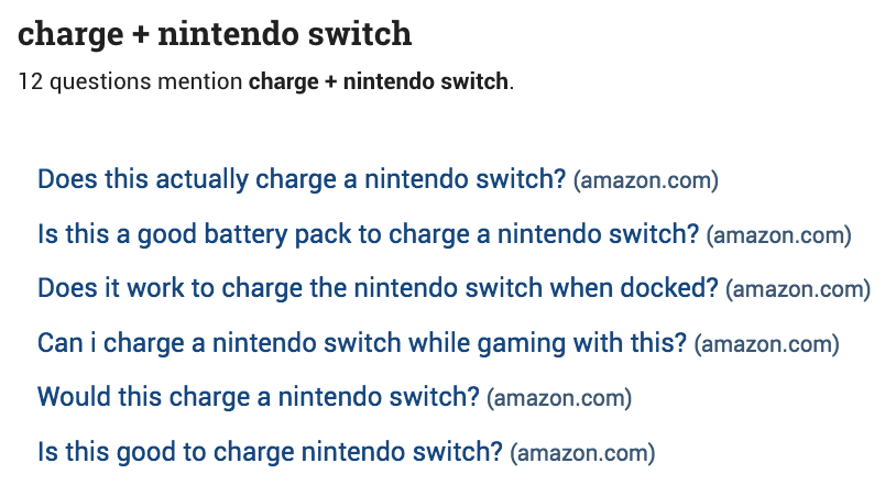 A screenshot from the BuzzSumo platform showing six questions about Nintendo's chargers