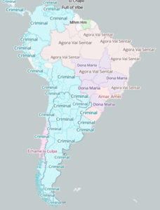 A map segmenting South America by most popular songs