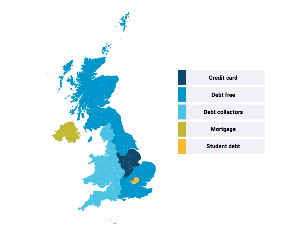 This map shows the most over indexed categories across UK regions for social media discussion. Data collected in the English language between 1 Sep 2013 and 1 Sep 2017